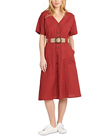 Saltwater Button-Front Belted Midi Dress