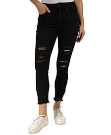Juniors' Ripped Raw-Hem Cropped Skinny Jeans