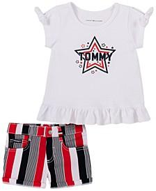 Toddler Girls Short Sleeve Signature T-shirt and Striped Denim Shorts, 2 Piece Set