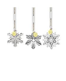 3 Piece Mini Ornaments Mini Poinsettia, Mini Snowflake, Mini Star, Set of 3