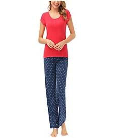 Women's Short Sleeve Henley Tee with Printed Lounge Pajama Pant Set
