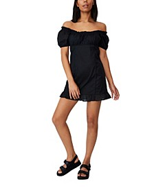 Women's Woven Lily Short Sleeve Corset Mini Dress