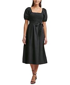 Smocked Puff-Sleeve Midi Dress