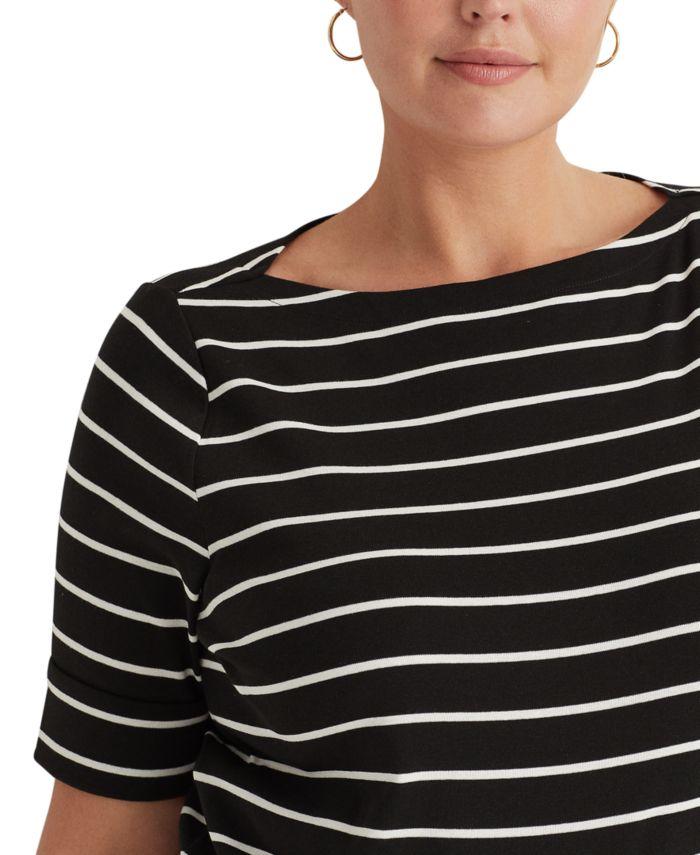 Lauren Ralph Lauren Plus Size Elbow Sleeve Top & Reviews - Tops - Plus Sizes - Macy's