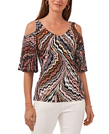 Cold-Shoulder Pleated-Sleeve Top