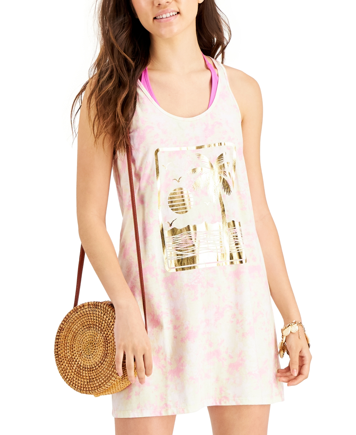 Miken Juniors' Tie-Dyed Graphic-Print Cotton Cover-Up Dress, Created for Macy's Women's Swimsuit