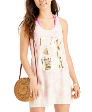 Juniors' Tie-Dyed Graphic-Print Cotton Cover-Up Dress