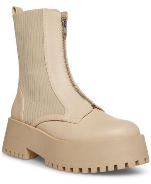 Skyler Zip-Front Knit Combat Boots
