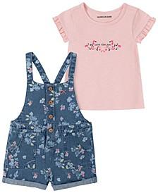 Little Girls Floral Print Denim Overall and T-shirt Set