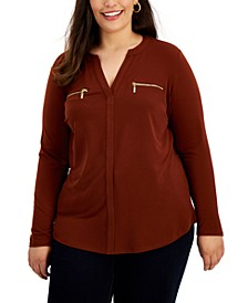 Plus Size Zip-Pocket Top, Created for Macy's