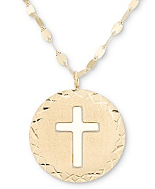 """Cross Disc 18"""" Pendant Necklace in 14k Gold"""