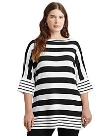 Plus-Size Mixed-Stripe Boatneck Sweater