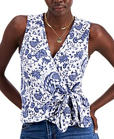 Printed Cotton Gauze Surplice Top, Created for Macy's