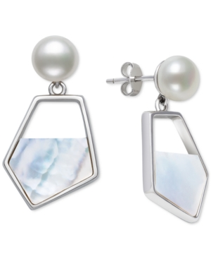 Cultured Freshwater Pearl (7mm) & Mother-of-Pearl Drop Earrings in Sterling Silver