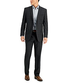 by Andrew Marc Men's Charcoal Plaid Modern-Fit Suit