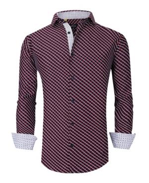 Men's Slim Fit Business Nautical Button Down Dress Shirt