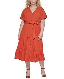 Plus Size Ruffle-Hem A-Line Dress