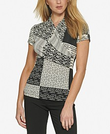 Printed Wrapped-Neck Top