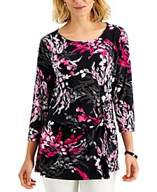 Floral-Print Twist-Front Top, Created for Macy's