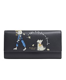 With A Little Help Large Flap Over Leather Wallet