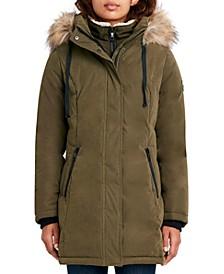 Faux-Fur-Trim Hooded Puffer Coat