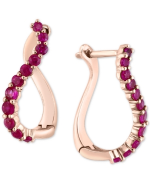 Ruby Swirl Hoop Earrings (3/4 ct. t.w.) in 14k Rose Gold