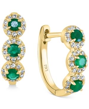 Emerald (1/3 ct. t.w.) & Diamond (1/5 ct. t.w.) Triple Halo Hoop Earrings in 14k Gold