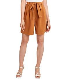 Woven Tie-Waist Long Shorts