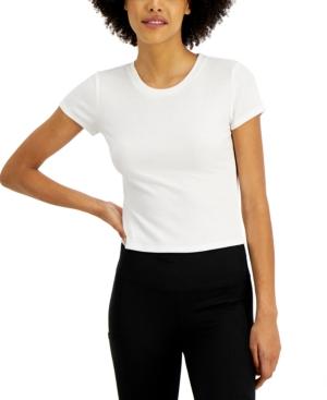 Juniors' Ribbed Crewneck T-Shirt