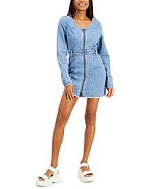 Juniors' Zip Front Denim Dress