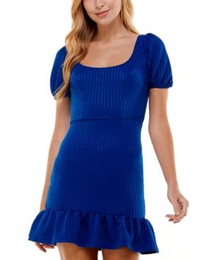 Juniors' Puff-Sleeve Ruffle-Skirt Dress