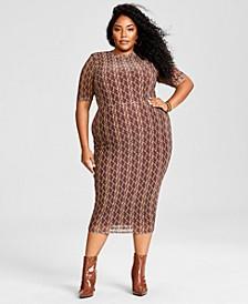 Trendy Plus Size Mesh Midi Dress, Created for Macy's