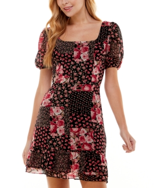 Juniors' Printed Puff-Sleeve Fit & Flare Dress