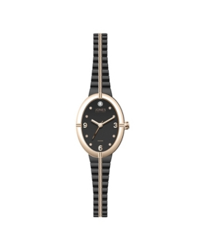 Jones New York Women's Genuine Diamond Rose Gold-Tone and Black Expansion Metal Bracelet Analog Watch 37mm