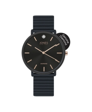 Jones New York Women's Genuine Diamond Black Dial and Rubber Strap Analog Watch 38mm