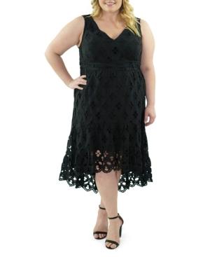 Plus Size Sleeveless V-Neck Eyelet Dress