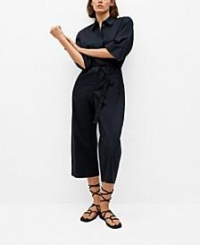 Women's Belted Cotton Jumpsuit