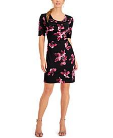 Petite Floral 3/4-Sleeve Sheath Dress