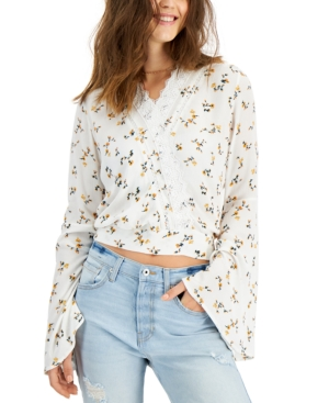 Juniors' Lace-Trim Bell-Sleeve Top