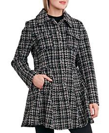 Single-Breasted Skirted Tweed Coat