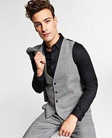 Men's Slim-Fit Black/White Plaid Suit Vest, Created for Macy's