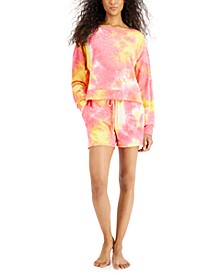 Tie Dyed Long Sleeve Top & Shorts Sleep Set, Created for Macy's