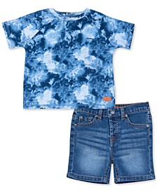 Baby Boys 2-Pc. Tie-Dye T-Shirt & Denims Shorts Set