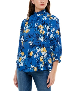 Women's Puff Sleeve Blouse with Smock Neck