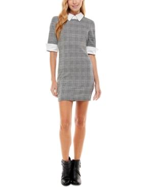Juniors' Printed Contrast-Trim Bodycon Dress