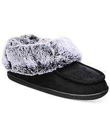 Women's Faux-Fur-Trim Boot Slippers, Created for Macy's