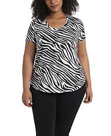 Plus Size Short Sleeve Zebra Print Scoop Neck Top