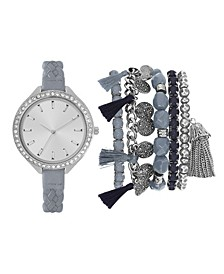 Women's Analog Mint Strap Watch 34mm with Silver-Tone and Blue Bracelets Set