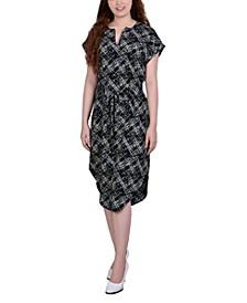 Women's Belted Split Neck Dress
