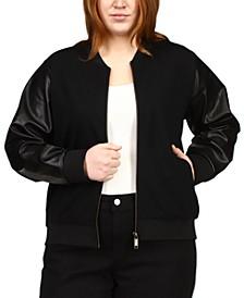 Plus Size Faux Leather Sleeve Jacket